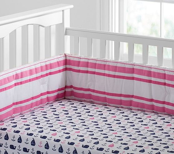 Baby Nash S Vintage Nautical Nursery: Hamptons Whale Crib Fitted Sheet, Bright Pink/Navy