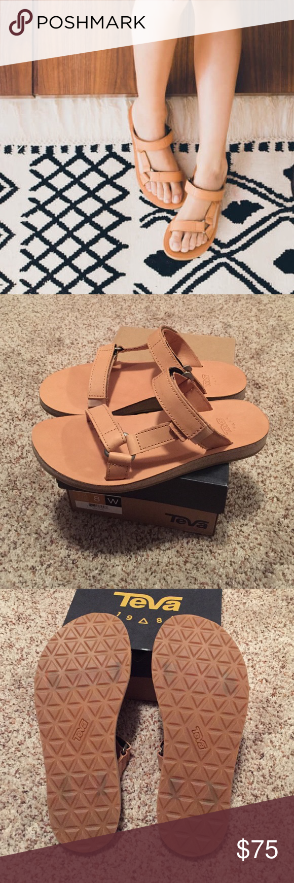 7fede2141547eb NWT Teva Womens Universal Slide Leather Tan Slides brand new
