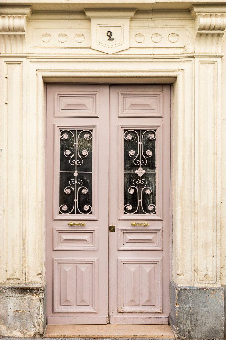 Paris Photography Paris Pale Pink Door Travel Photograph Paris Architectural Fine Art Print