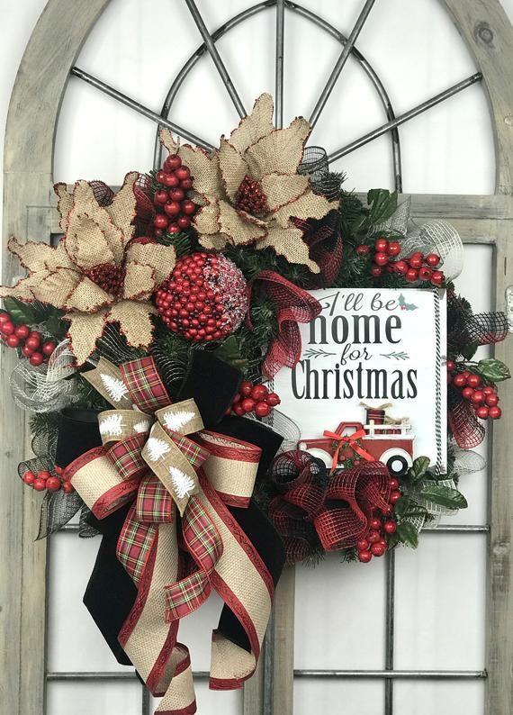 Burlap poinsettia Christmas wreath farmhouse Christmas