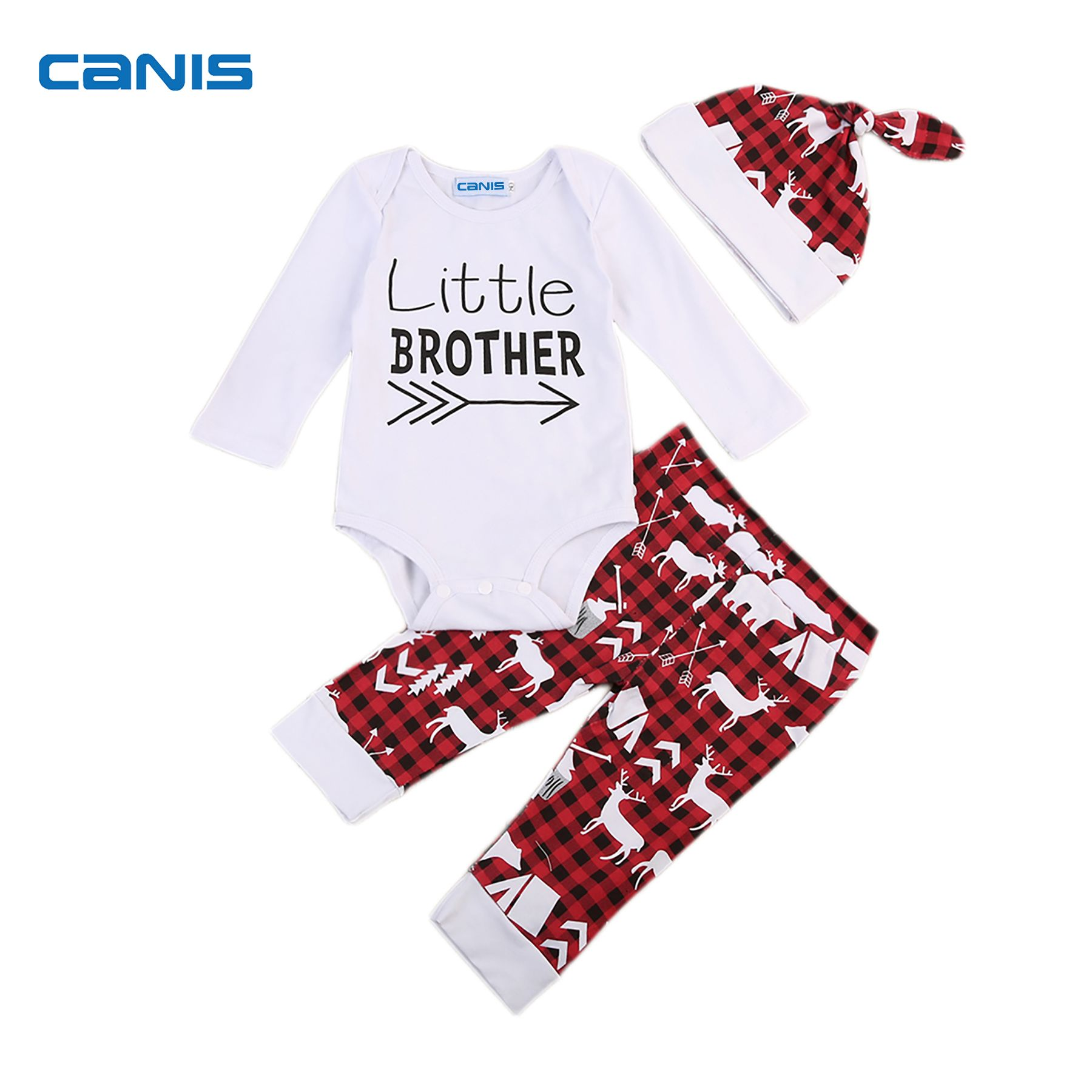 3PCS Newborn Kid Baby Boy Outfit Clothes Romper Pants Little Brother Costumes