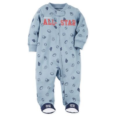 d84b7d44d04e Carter s Size 3M Snap-Up All-Star Sleep   Play Footie In Blue ...