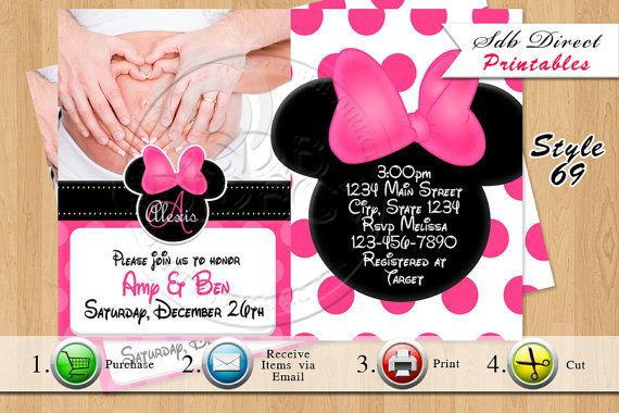 Minnie Mouse Baby Shower Invitation Minnie Mouse Baby by SDBDIRECT