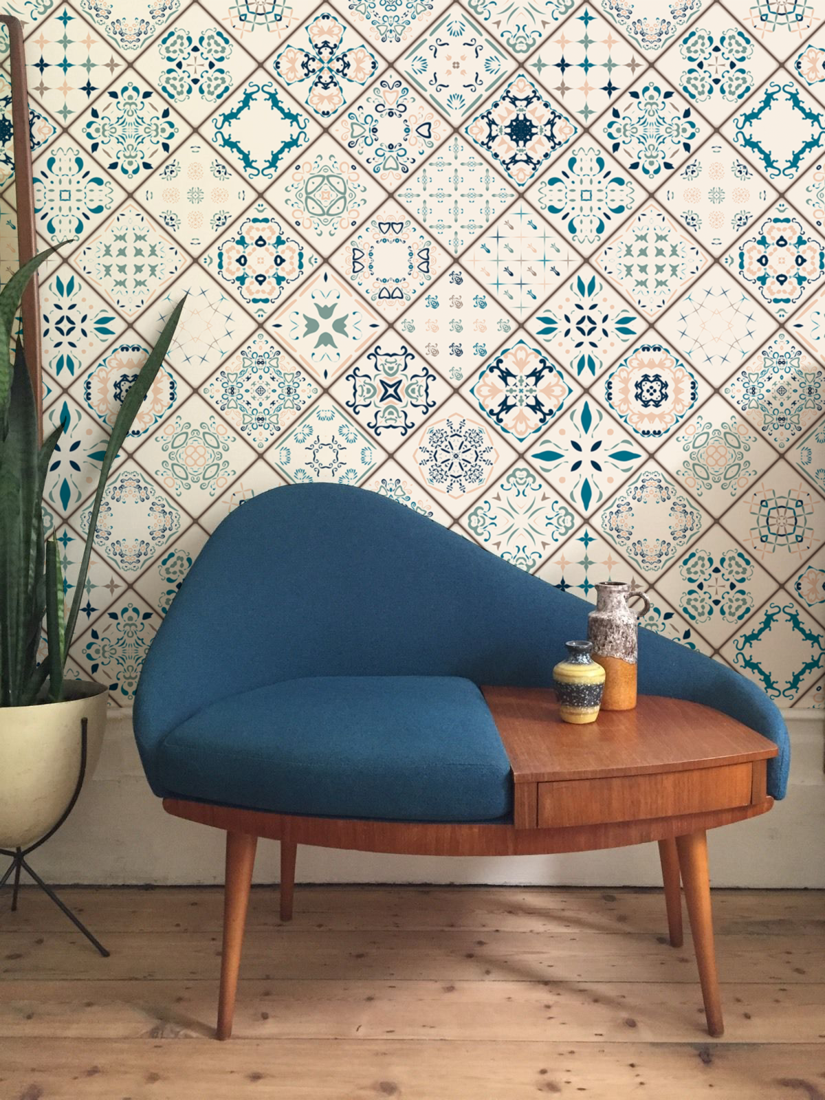 Although It Looks Like Real Tiles Tiles Composition Is A Pattern On A Removable Wallpaper Just Peel Stick And Living Room Tiles Turkish Decor House Interior