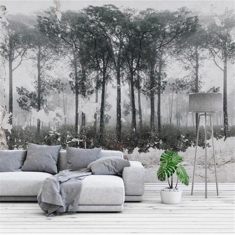 Retro Flying Birds Forest Scenery Wallpaper - 178W x 111H inches / Non-woven Paper