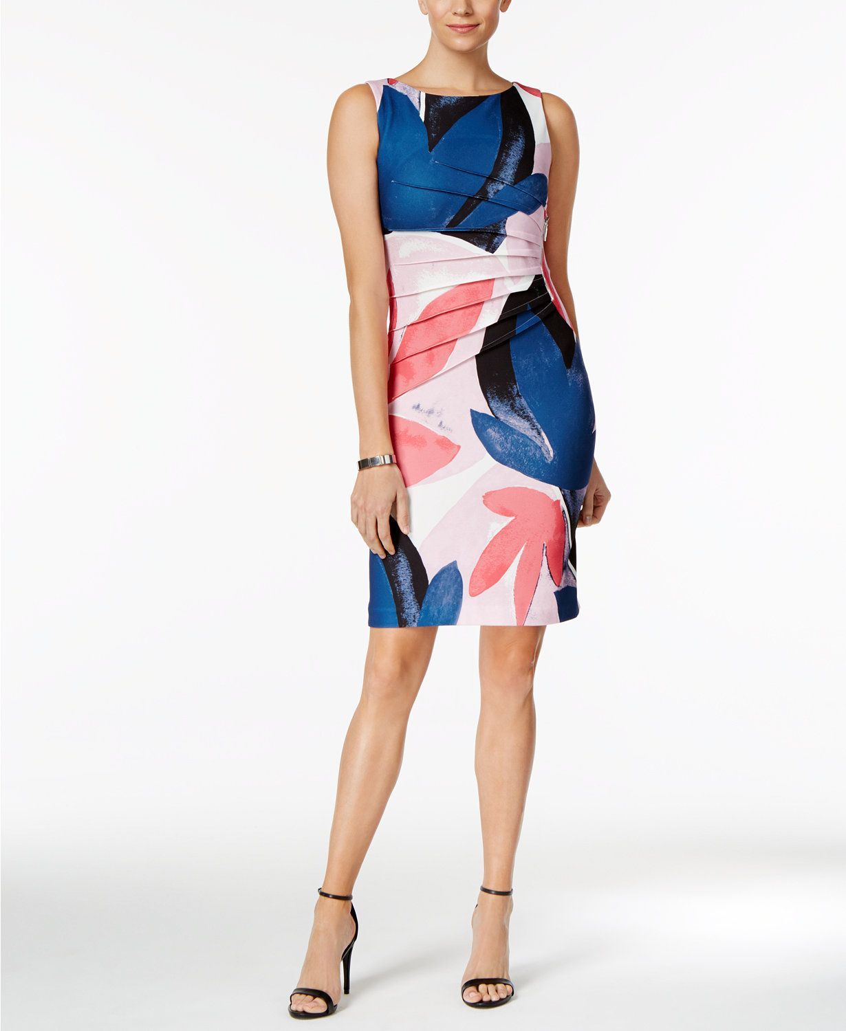b3fdbab6 Ivanka Trump Floral-Print Starburst Sheath Dress | macys.com ...