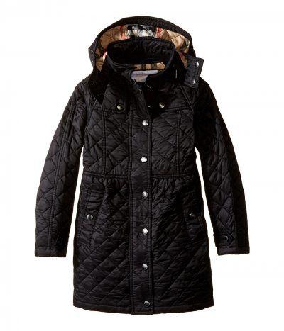 Burberry Kids - Foxmoore Long Jacket (Little Kids/Big Kids) (Black) Girl's Coat