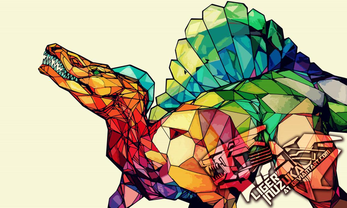 Spinosuarus Stained Polygons by Liger-Inuzuka.deviantart.com on @DeviantArt