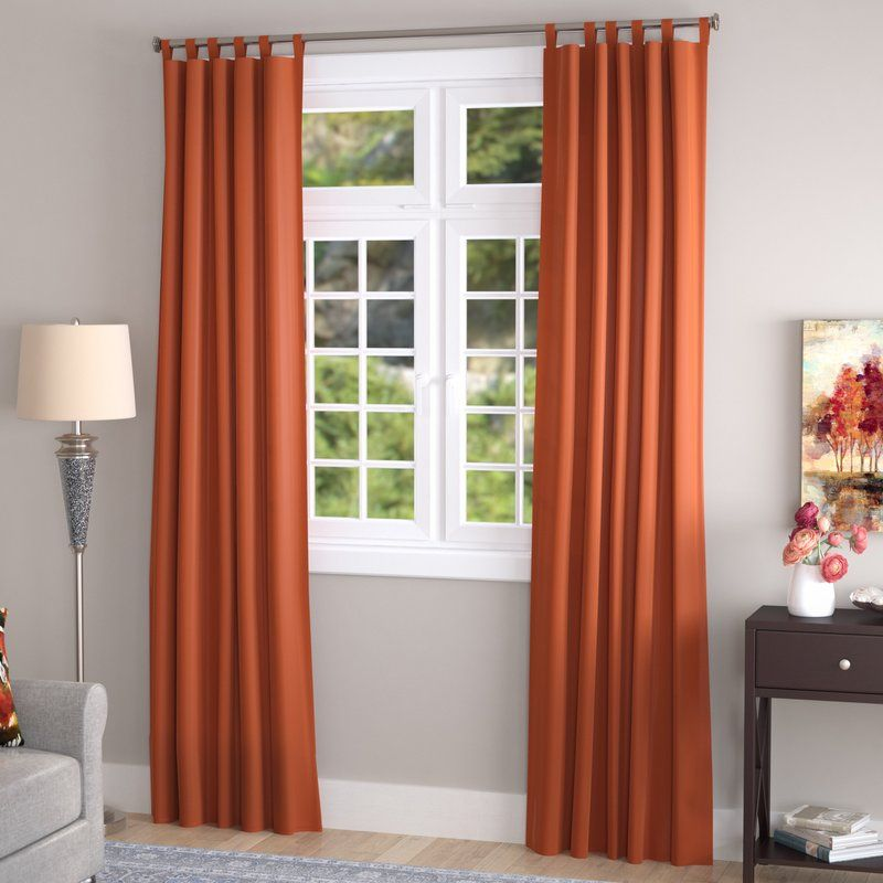Obannon Solid Color Room Darkening Thermal Tab Top Curtain