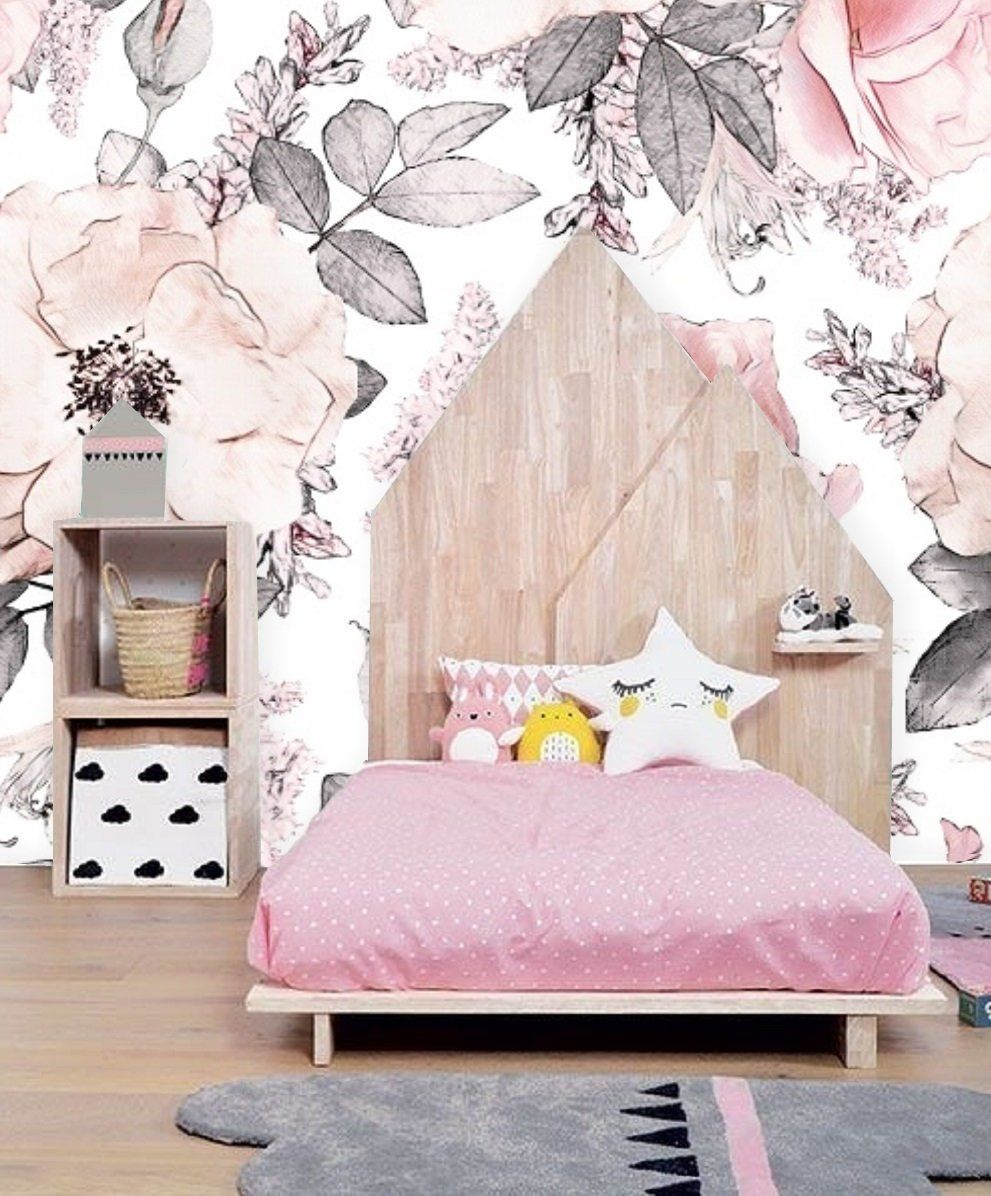 Wandtapete Rosa Floral Art Removable Floral Nursery Wallpaper Rose Flowers