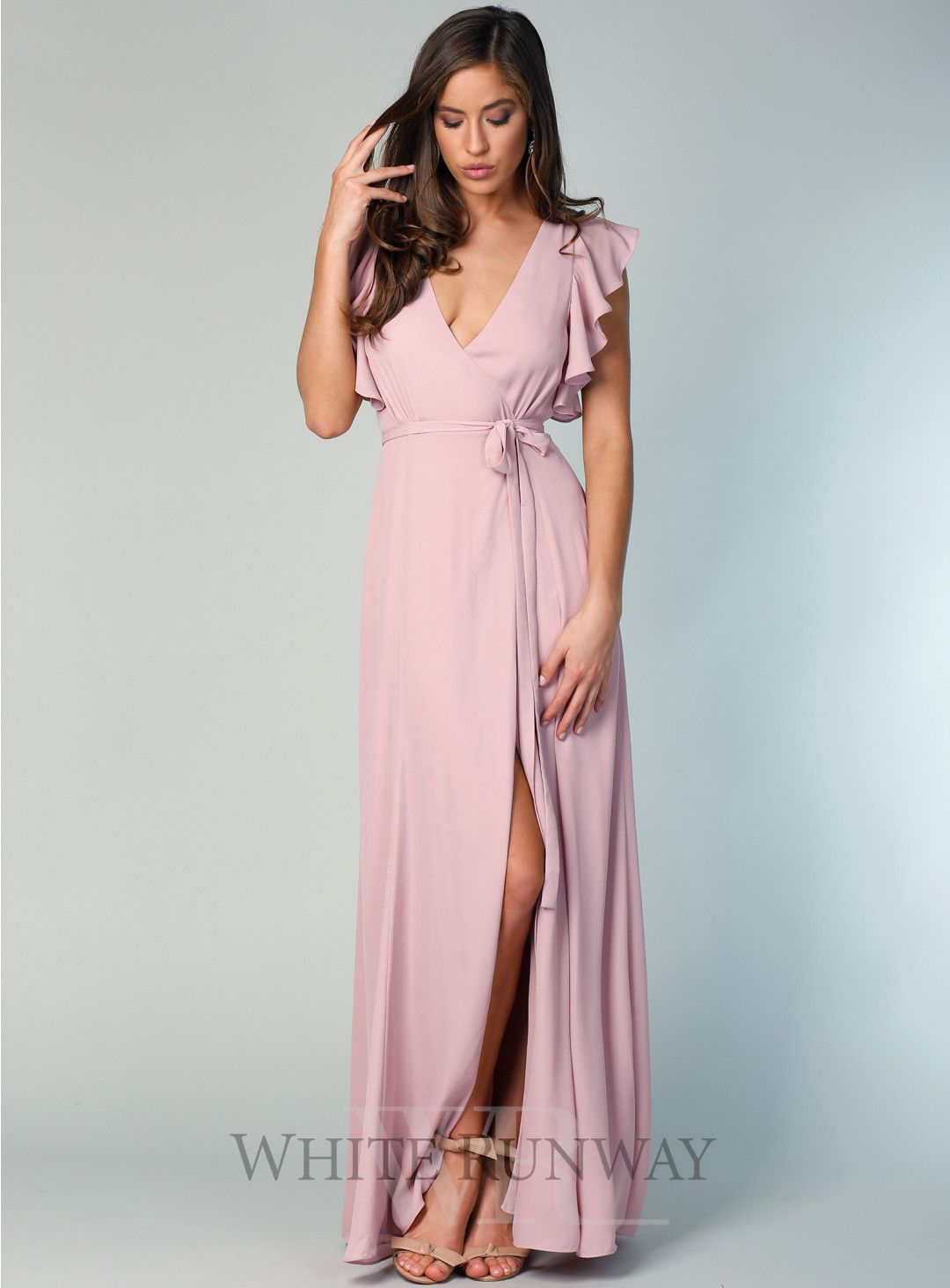 3d14359c0 Flutter Sleeve Flare Maxi. A beautiful full length wrap dress by Samantha  Rose. A v-neck style featuring a gorgeous frill sleeve and self tie at  waist.