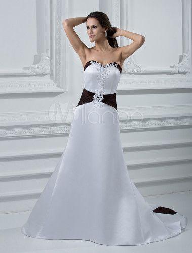 Vestido de boda de faja negra de estilo simple - Milanoo.com ...