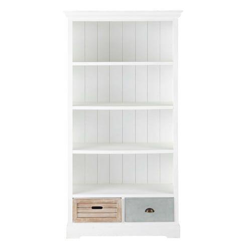 biblioth que en bois blanche l 100 cm biblioth que pinterest wooden bookcase bookcase et. Black Bedroom Furniture Sets. Home Design Ideas