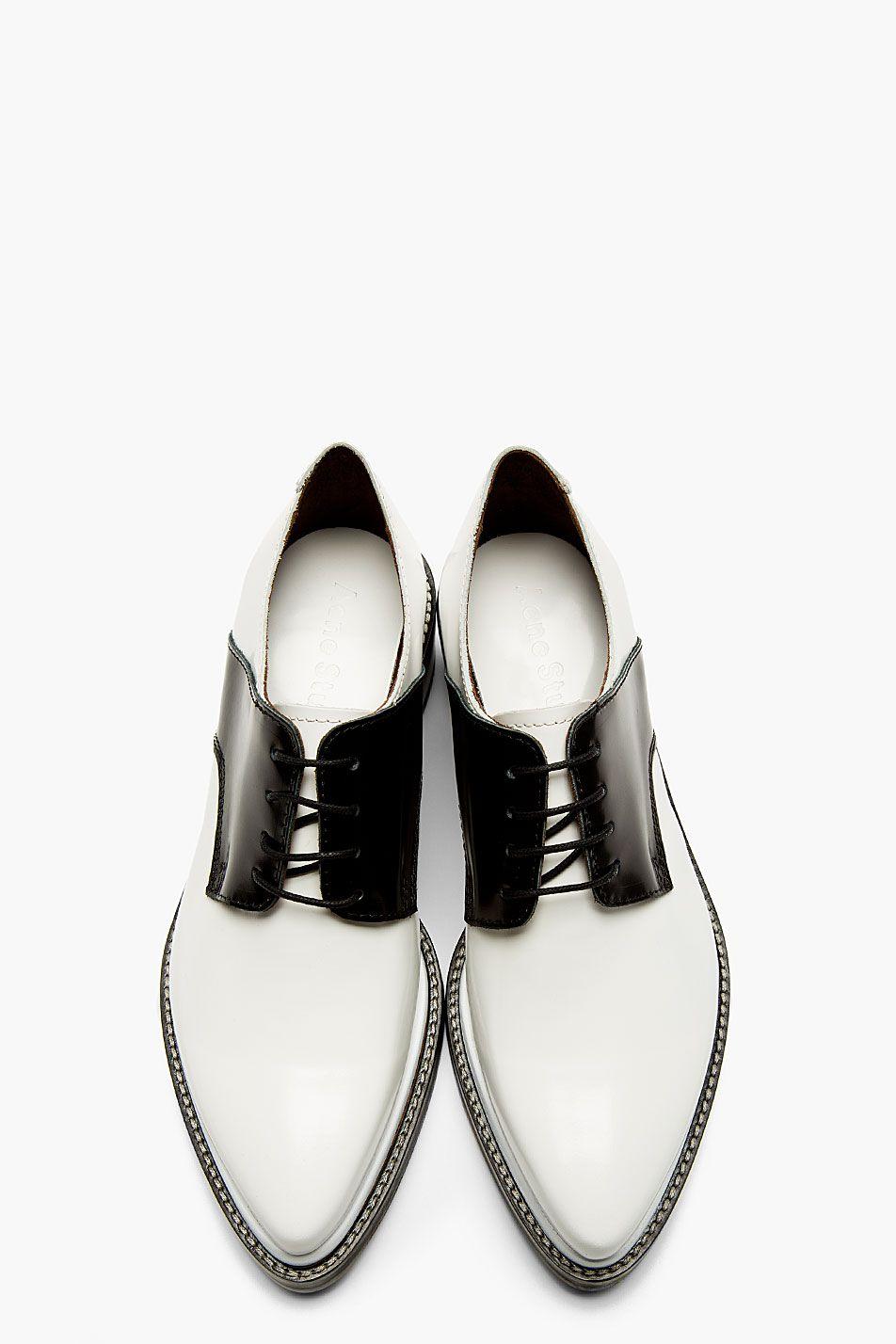 ACNE STUDIOS Black & White Lark Mix Saddle Shoes Acne Studios, Acne, fashion, minimal, minimalist, shoes