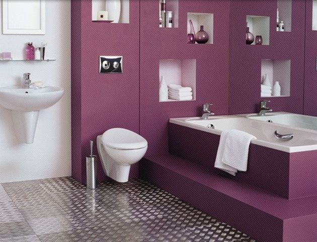 Purple Paint Color For Modern Small Bathroom With No Windows