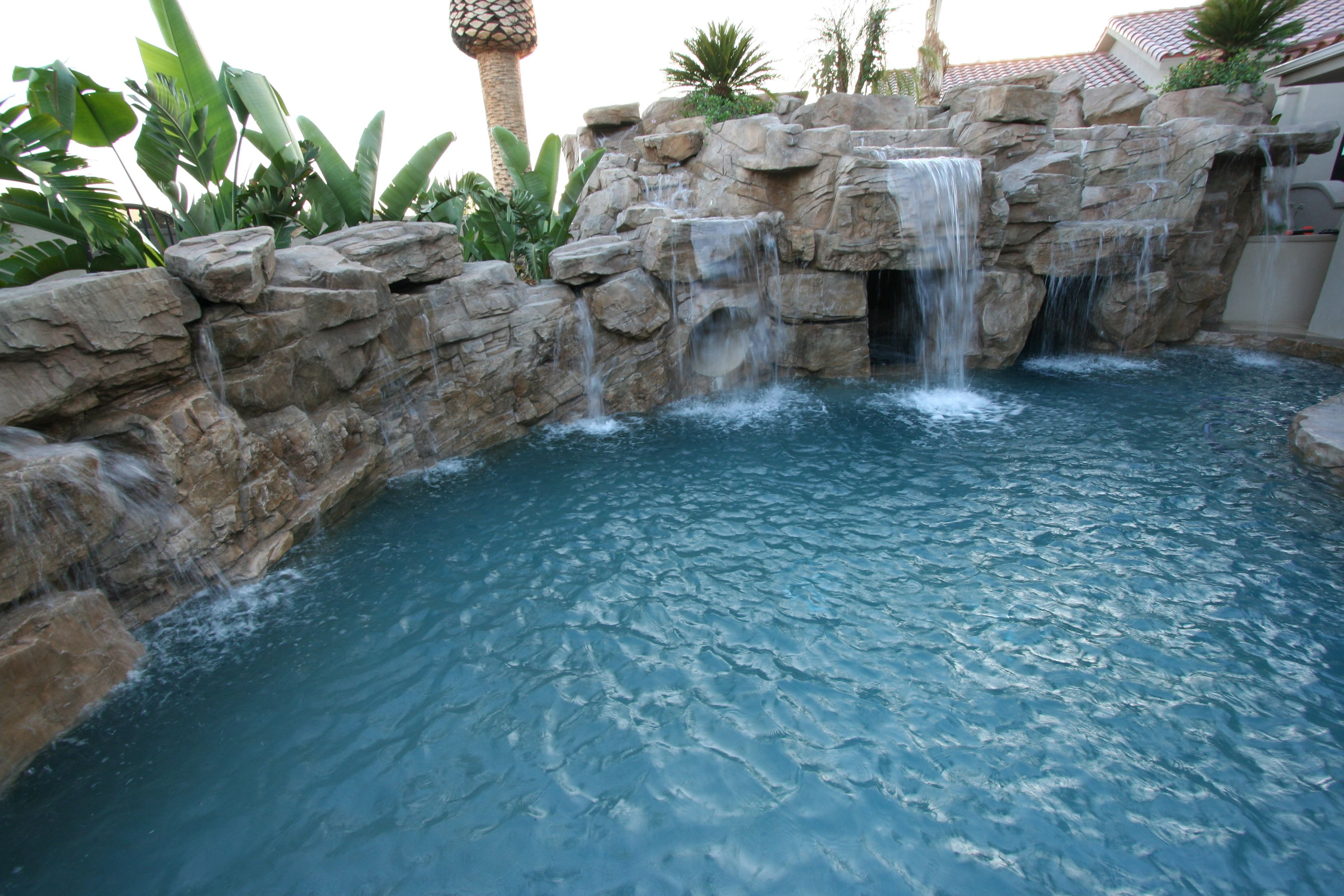 Rock wall with multiple waterfalls in this Southern California ...