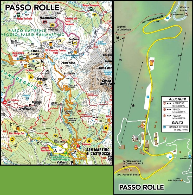 Passo Rolle tourist map Maps Pinterest Tourist map and Italy