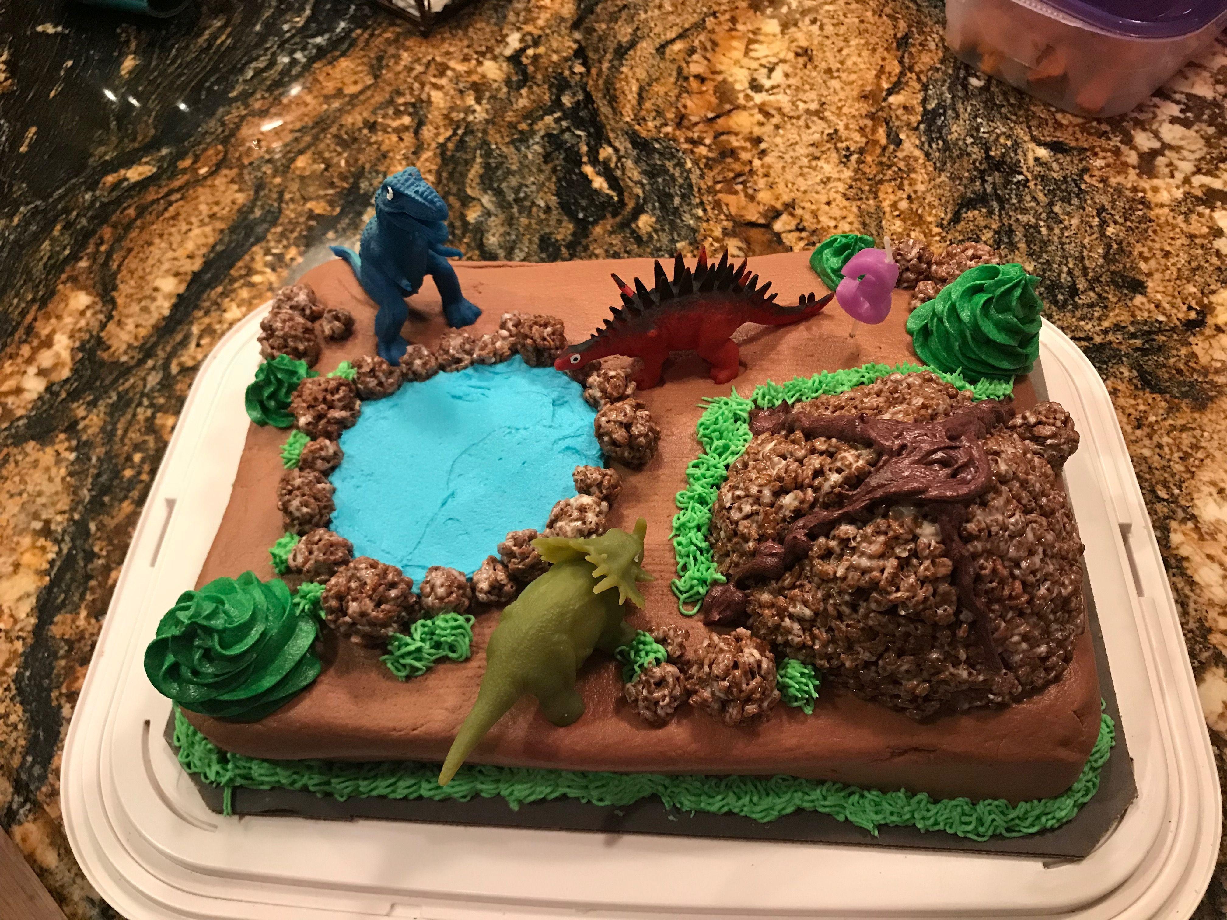 Dino Land Birthday Cake Volcano; Choc rice crispy Lake ...