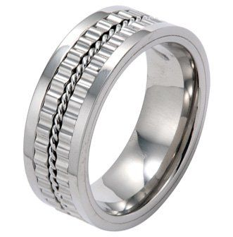 High Polished Titanium Ring with Gear Design and Rope in Center For