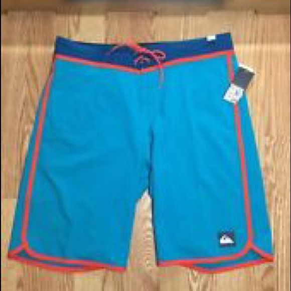 QUIKSILVER BOARD SHORTS SURFER TRUNKS NWT 32 mens The ultimate board shorts tie Velcro front closure zip pocket on back NWT. Deal u can't pass up Quiksilver Swim