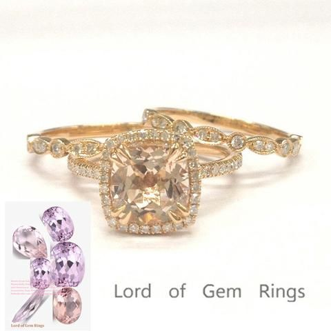 Cushion Morganite Engagement Ring Trio Sets Pave Diamond Wedding 14K