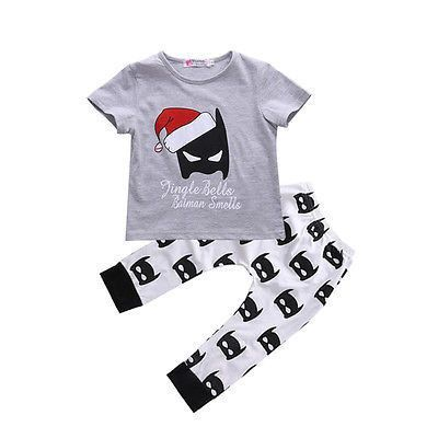 Christmas Halloween 2016 Baby Kids Boy Girls Christmas Outfits Batman T-shirt+Pants 2pcs baby clothing sets