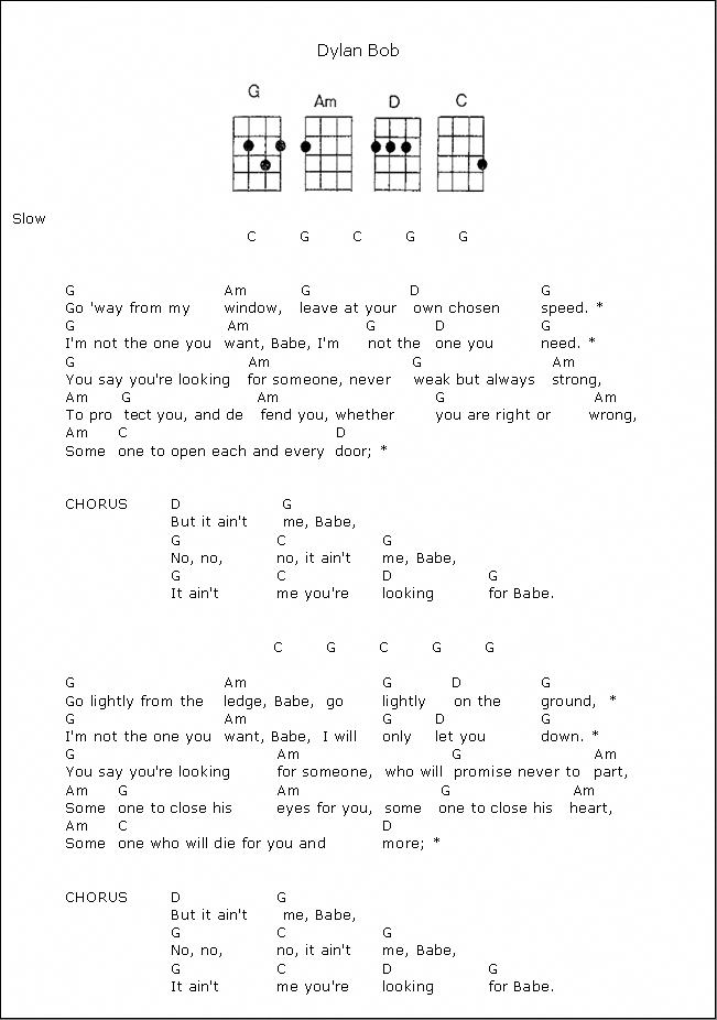 It Ain T Me Babe Bob Dylan Ukulele Chords Ukulelelessons Ukulele Ukelele Songs Guitar Songs