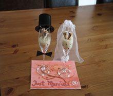 Sektglser als Geldgeschenk zur Hochzeit auf Geschenkede