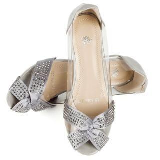 ladies' flat open toe rhinestone sandals | Cocoeve Rhinestone Trim Striped Open-Toe Flats 1022566843