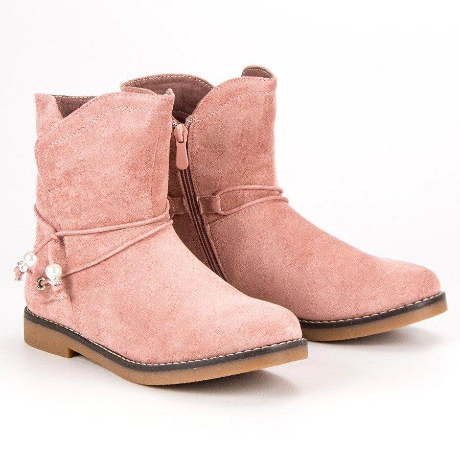 Wygodne Jesienne Botki Rozowe Biker Boot Boots Shoes
