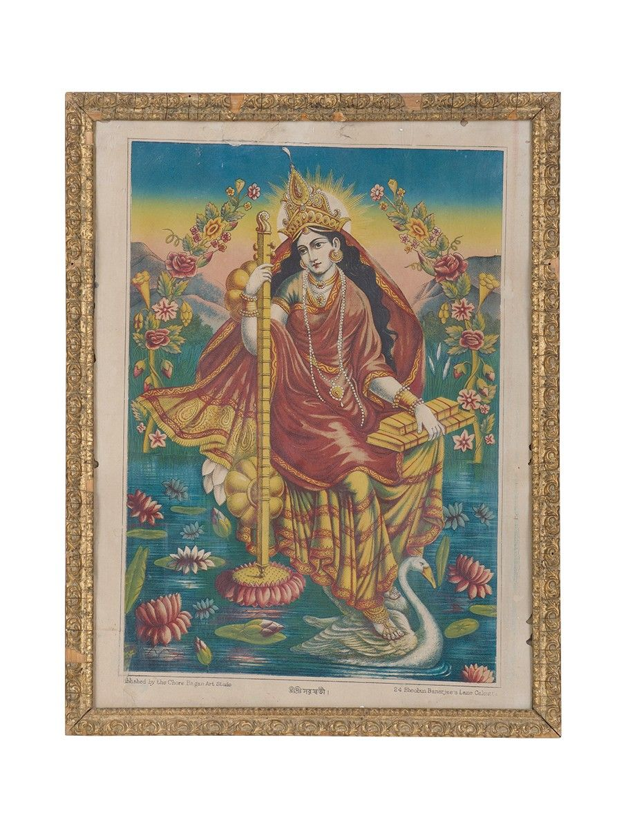 Buy Saraswati (1st Print) Vintage Framed Calcutta Press Artwork 17.2 ...