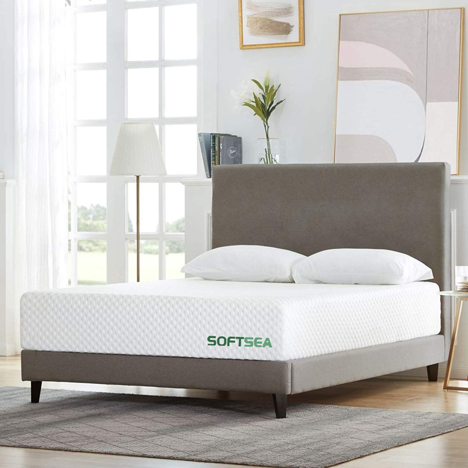 Softsea 12 Inch Cooling Gel Memory Foam Mattress In A Box For A Medium Comfort