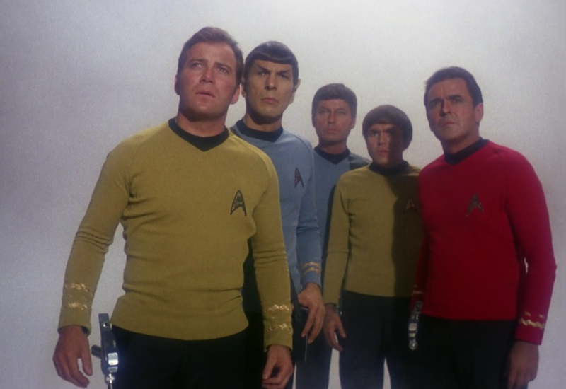 The original crew in their tri-color uniforms.