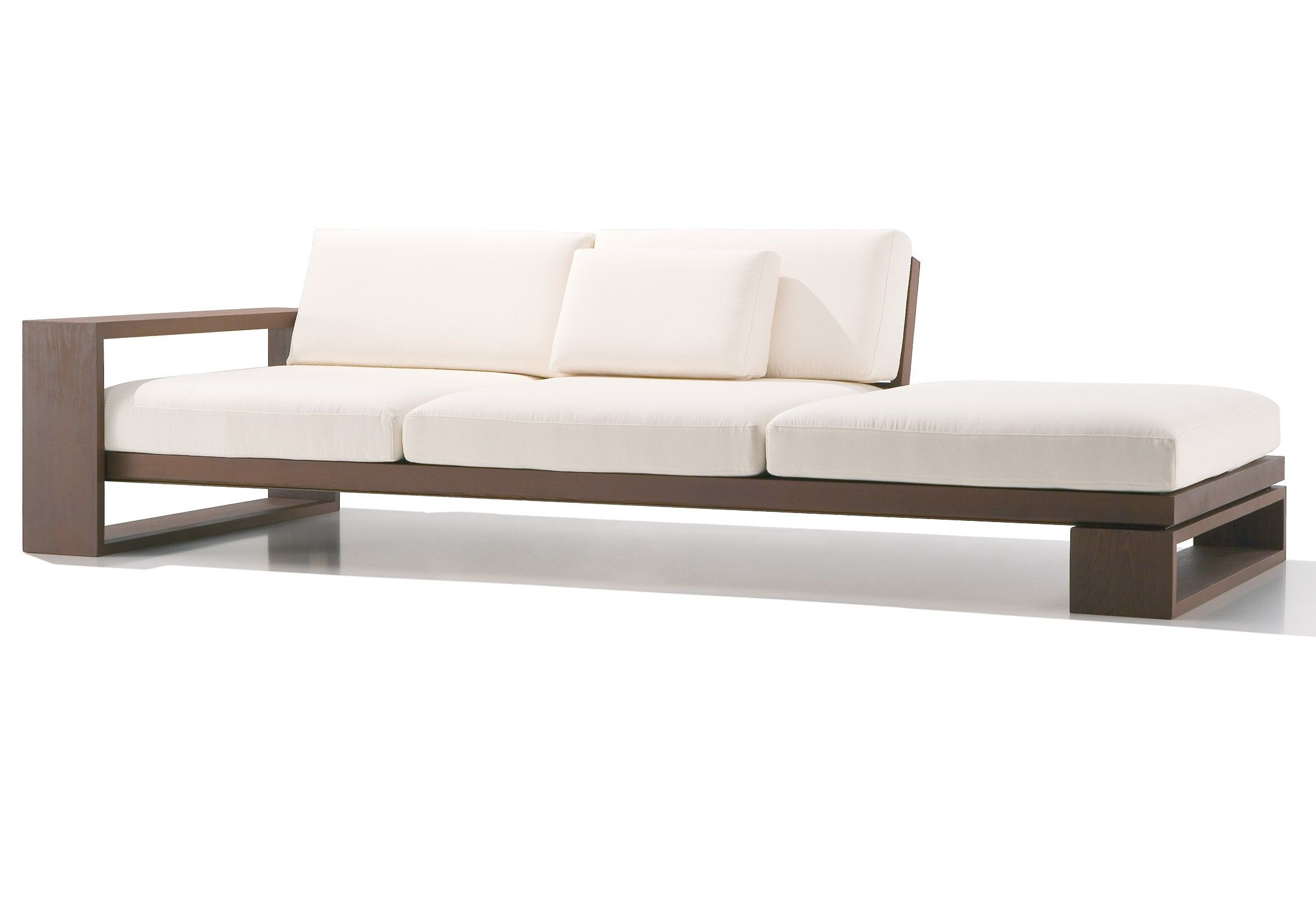 Simple Brown Wooden White Sofa fers Space