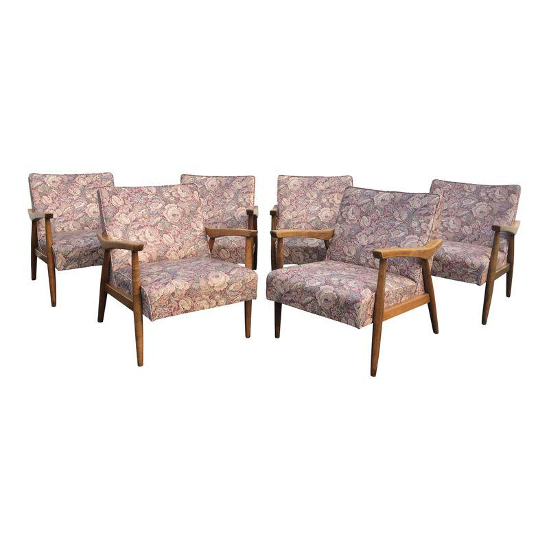 Mid Century Modern Wooden Floral Vinyl Chairs Set Of 6 Side