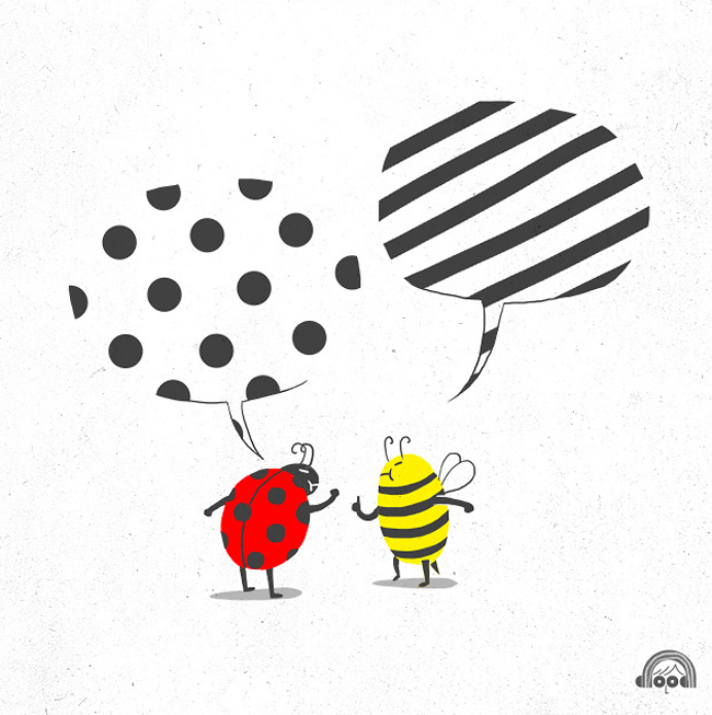 I love the idea that a bee and a ladybug would passionately argue over who has a better graphic pattern. Another fantastic illustration in Lim Heng Swee's Doodle Everyday project.