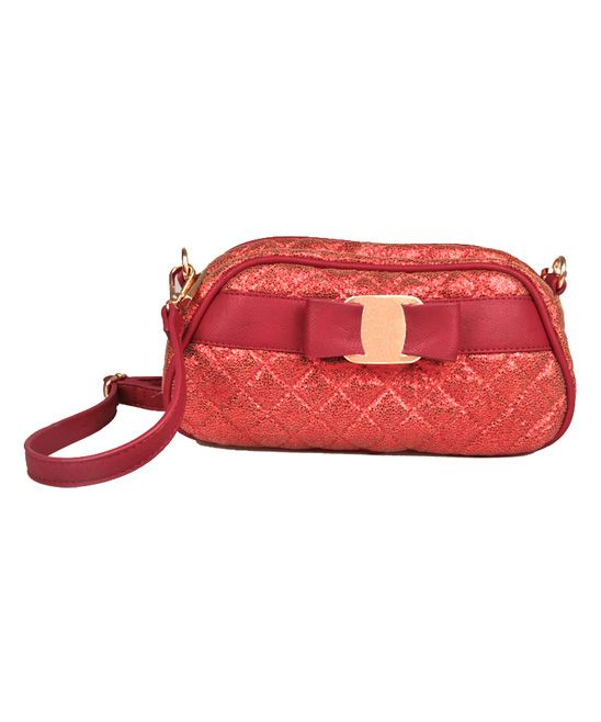 Wine Cosmo Metallic Quilted Shoulder Bag
