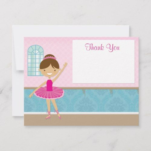 Pink Ballet Personalized Childrens Party Thank You Cards