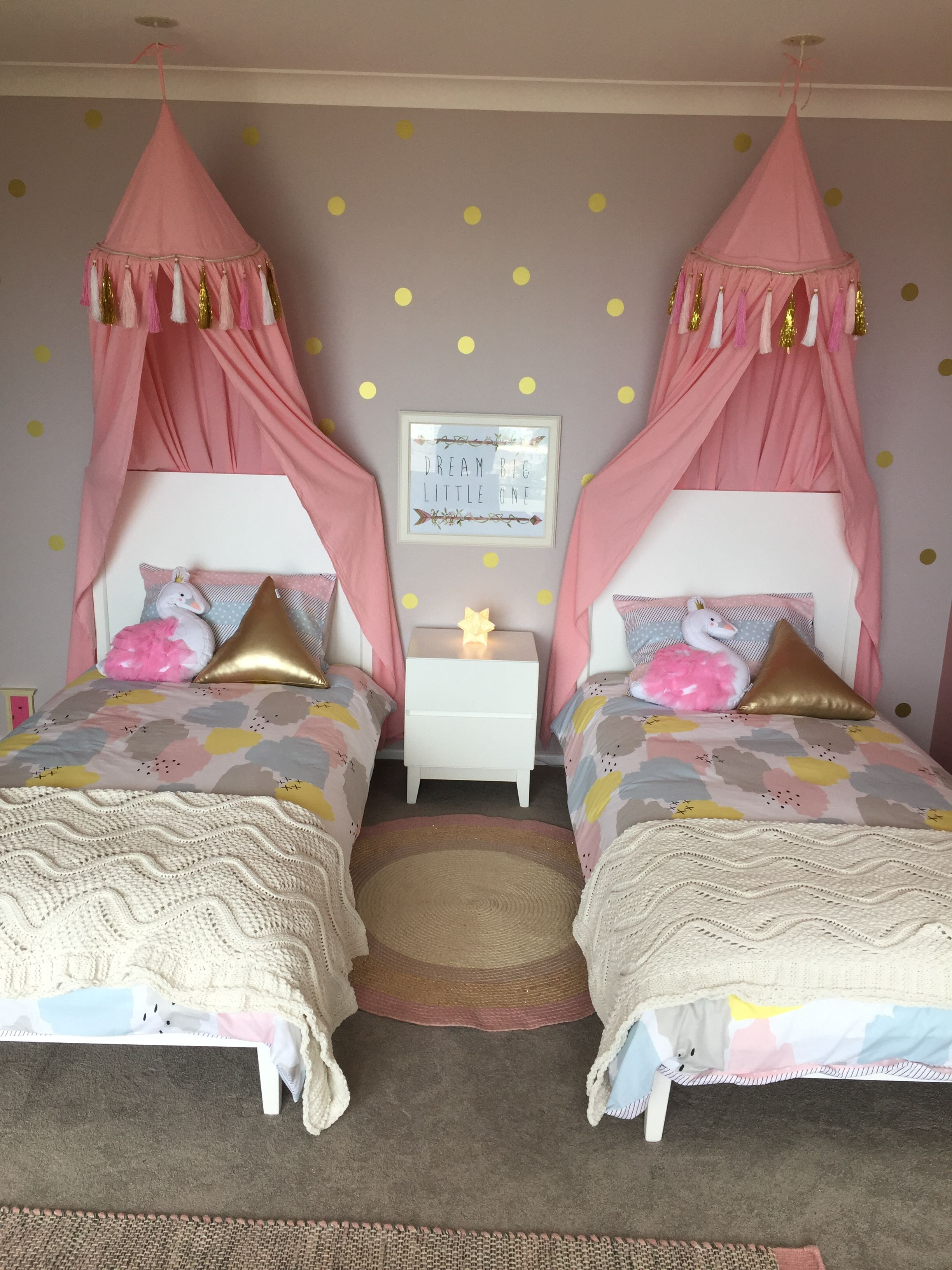 pink grey gold bedroom
