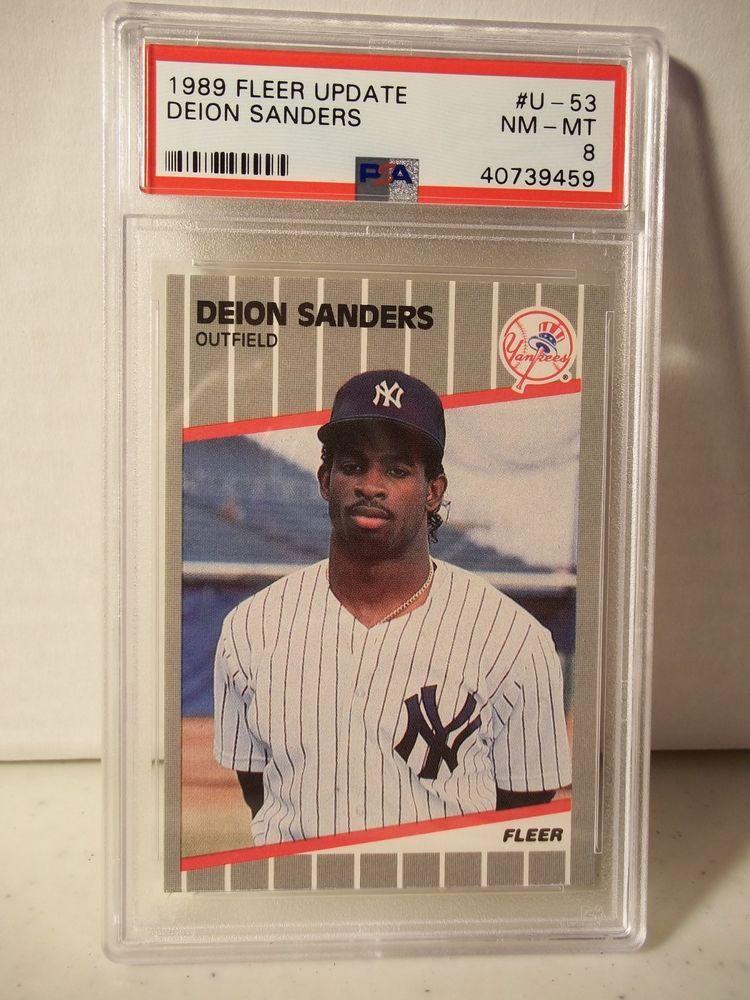 1989 Fleer Update Deion Sanders Rookie Psa Nm Mt 8 Baseball Card U 53 Mlb Newyorkyankees Baseball Cards Baseball Cards
