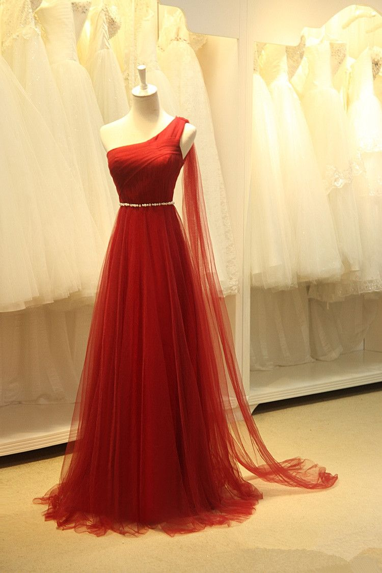 Pretty tulle one shoulder wine red long simple prom dresses