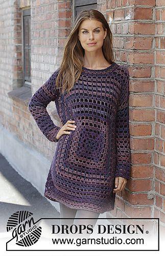 197-31 Squared Plum pattern by DROPS design #crochettunicpattern