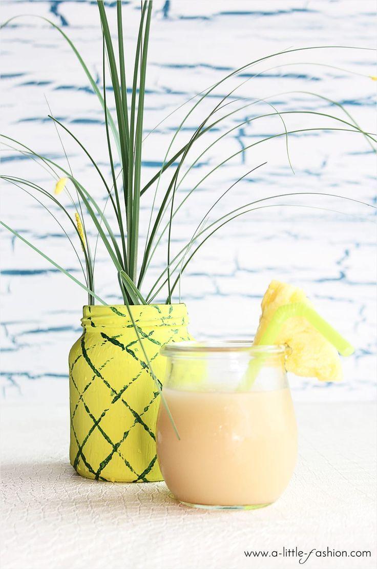 DIY Ananas-Vasen #sommerlichebastelarbeiten