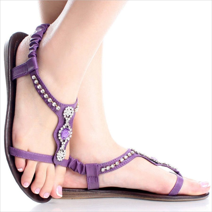 Blissful Purple Flat Sandals For Spring Purple Sandals Purple