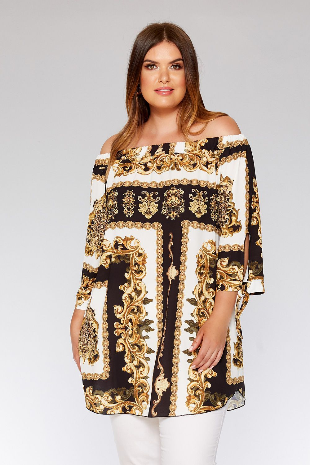 Curve black and gold scarf print tunic dress friperie project