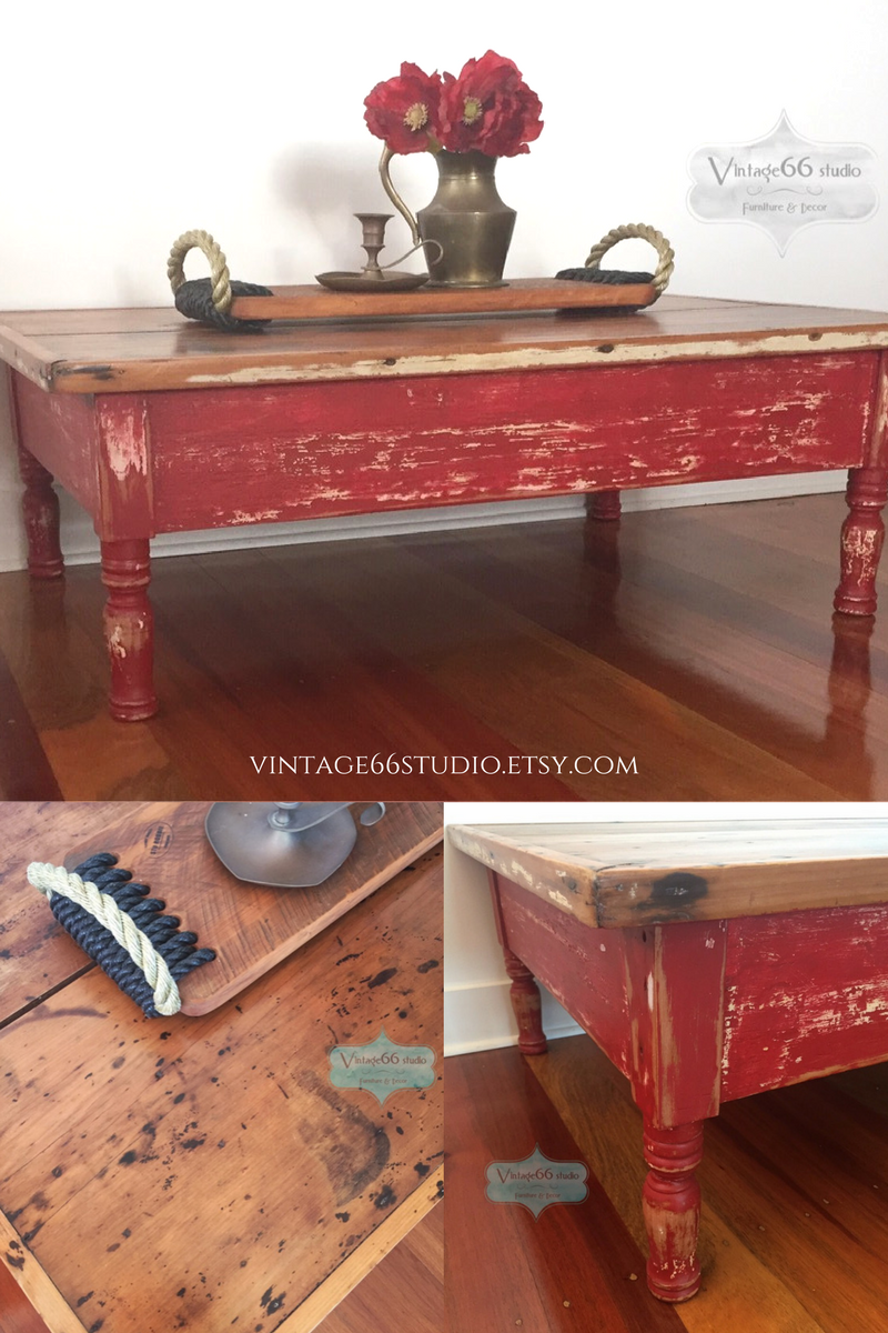 Vintage Rustic Coffee Table Hand Painted Red And Heavily Distressed Top Left Natural Sealed