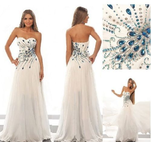 White Wedding Dress Long Formal Party Evening Ball Prom Dress Bridal Gown  Custom