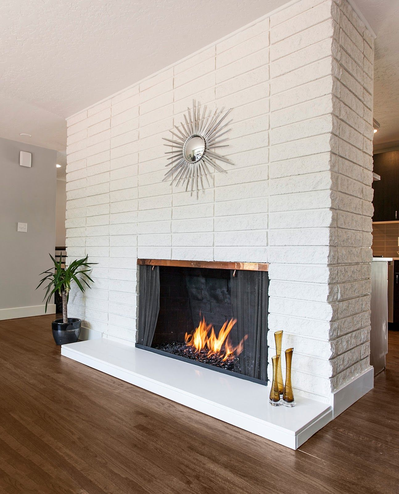 quartz for fireplace hearth | There was no master bath at all in ...