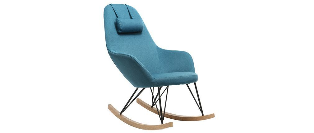 Sedia A Dondolo Tessuto.Poltrona Relax Sedia A Dondolo Tessuto Blu Petrolio Gambe In