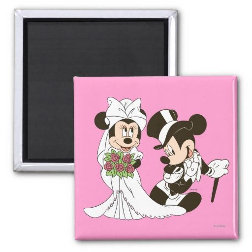 Mickey Mouse and Minnie Wedding Fridge Magnet